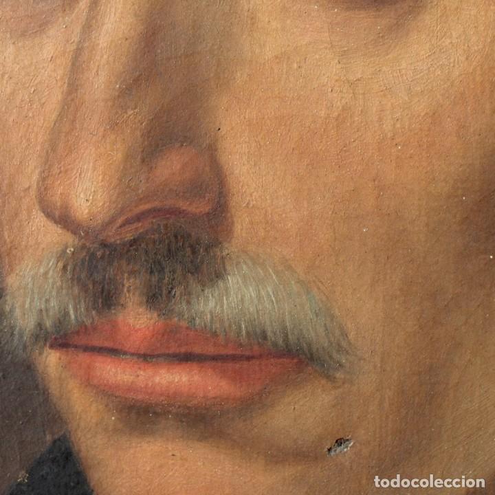 Arte: Antigua pintura al óleo sobre lienzo con retrato de gentilhombre - Foto 9 - 114361203