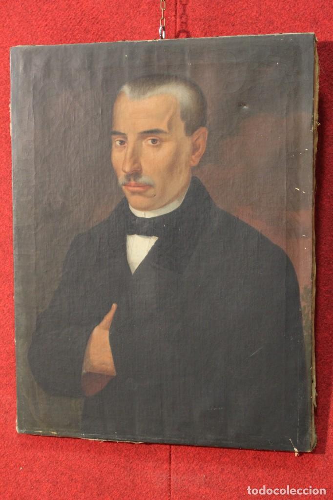 Arte: Antigua pintura al óleo sobre lienzo con retrato de gentilhombre - Foto 12 - 114361203