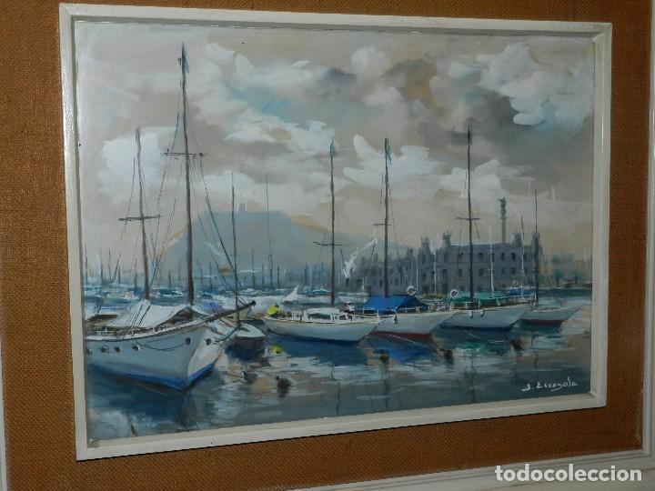 (M) CUADRO ACUARELA DE JOAN ESCAYOLA BANCH , PUERTO DE BARCELONA , MEDIDAS SIN MARCO 57 X 41'5 CM, (Arte - Pintura - Pintura al Óleo Contemporánea )