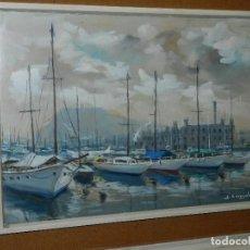 Arte: (M) CUADRO ACUARELA DE JOAN ESCAYOLA BANCH , PUERTO DE BARCELONA , MEDIDAS SIN MARCO 57 X 41'5 CM, . Lote 114440603