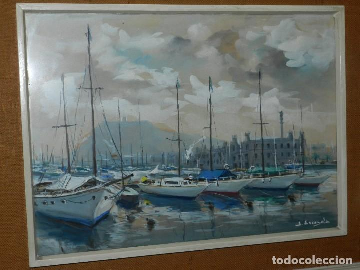 Arte: (M) CUADRO ACUARELA DE JOAN ESCAYOLA BANCH , PUERTO DE BARCELONA , MEDIDAS SIN MARCO 57 X 415 CM, - Foto 3 - 114440603