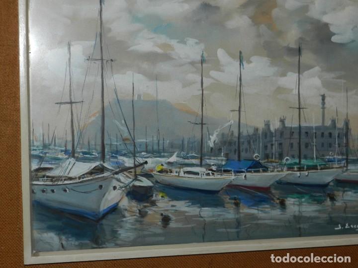 Arte: (M) CUADRO ACUARELA DE JOAN ESCAYOLA BANCH , PUERTO DE BARCELONA , MEDIDAS SIN MARCO 57 X 415 CM, - Foto 4 - 114440603