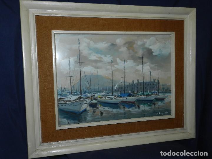 Arte: (M) CUADRO ACUARELA DE JOAN ESCAYOLA BANCH , PUERTO DE BARCELONA , MEDIDAS SIN MARCO 57 X 415 CM, - Foto 6 - 114440603