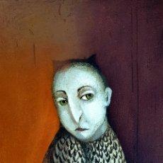 Arte: PEPE CANO (CADIZ 1950), PRECIOSA PINTURA ORIGINAL HOMBRE-BÚHO FIRMADA.. Lote 114640647