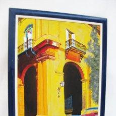 Arte: CUADRO OLEO PINTURA COLORISTA CALLE Y COCHE CUBA AZUL Y AMARILLO . Lote 114682315