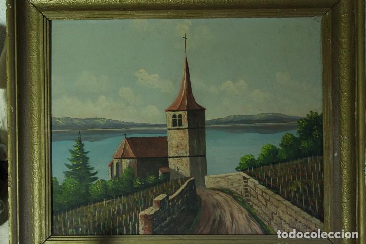 ANTIGUA PINTURA OLEO ESCUELA EUROPEA INGLESA, IGLESIA FIRMA AUTOR CROSS (Arte - Pintura - Pintura al Óleo Moderna sin fecha definida)