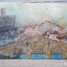 Arte: ENORME OLEO SOBRE TABLA PANORAMICA DE MANRESA.PINTOR MONTES.REALIZADO EN 1.973.. Lote 114736919
