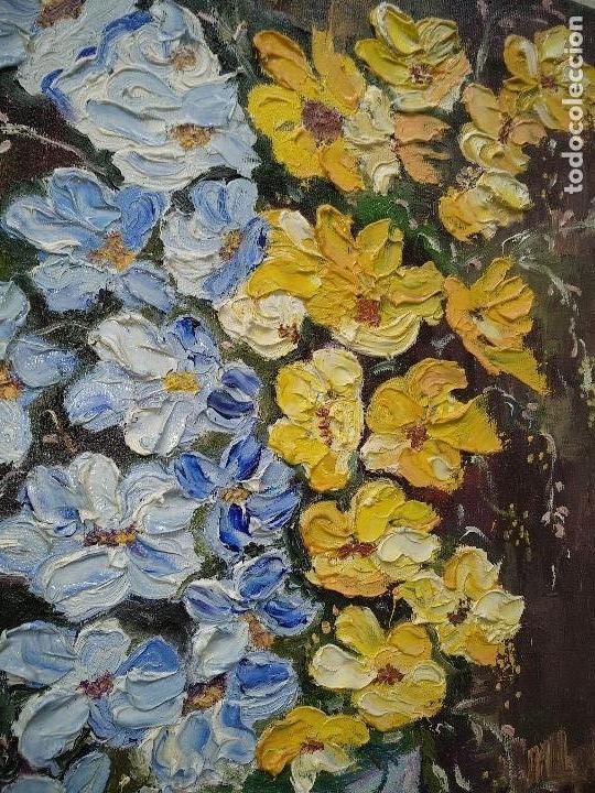 Arte: FLORES EN AZUL Y AMARILLO, OLEO SOBRE LIENZO EN BASTIDOR. - Foto 2 - 114774315
