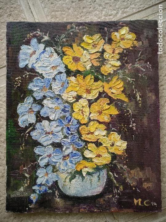 FLORES EN AZUL Y AMARILLO, OLEO SOBRE LIENZO EN BASTIDOR. (Arte - Pintura - Pintura al Óleo Contemporánea )