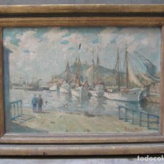 Arte: JACINT OLIVÉ (1896-1967), PUERTO, PINTURA AL ÓLEO SOBRE TELA. 52X69,5CM. Lote 114885451