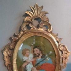 Arte: ANTIGUO ÓLEO BAJO CRISTAL DE SAN JOSÉ CON EL NIÑO. S.XVIII. ATRIBUIDO A JOSÉ LUZÁN. 52X38CM. Lote 114986447