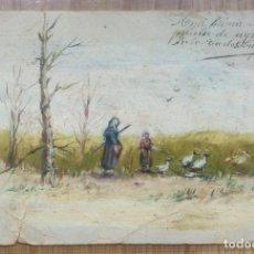 Arte: CARLOS CARCASONA 1905 - OLEO PINTADO SOBRE POSTAL. Lote 115054319