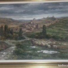 Arte: LOPE TABLADA MARTIN. OLEO-LIENZO:PAISAJE RURAL SEGOVIANO 1986 :LA VILLA DE FUENTIDUEÑA. 95X76,5 CMS. Lote 115145699