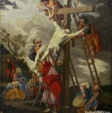 Arte: A-220. OLEO SOBRE LIENZO, DESCENDIMIENTO DE LA CRUZ. ESCUELA FLAMENCA SXVI-XVII.. Lote 115182571