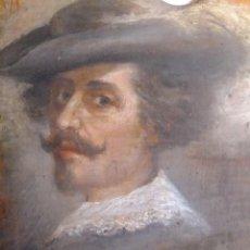 Arte: PINTURA SOBRE TABLA DE PALETA DE PINTOR CON CABALLERO CRUZ DE SANTIAGO 1905 FIRMADO. Lote 115259835