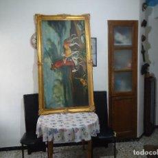 Arte: ANTIGUA ESCENA DE CAZA DE M.PALOMARES CAMILO (GRANADA) MARCO DE MADERA Y PAN DE ORO MED.1´67 X 92CM. Lote 115300747