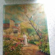 Arte: OLEO SOBRE TABLA ESCENA COSTUMBRISTA AÑOS 50 ANONIMO. Lote 115353635