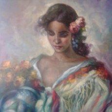 Arte: MUJER CON JARRÓN Y FLORES. JOLOGA. LIENZO 65X54.. Lote 115406543