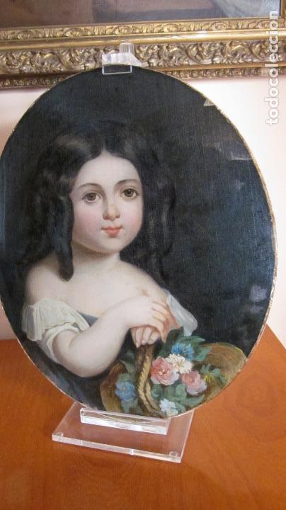 PINTURA AL OLEO PROTEGIDA CON UN CRISTAL OVALADO S-XIX (Arte - Pintura - Pintura al Óleo Antigua siglo XVIII)