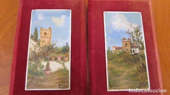 PAREJA DE PINTURAS AL OLEO SOBRE PORCELANA (Arte - Pintura - Pintura al Óleo Moderna siglo XIX)