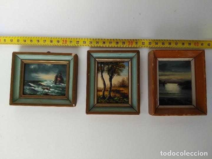 LOTE DE 3 CUADROS MINIATURA PINTADO AL ÓLEO (Arte - Pintura - Pintura al Óleo Contemporánea )