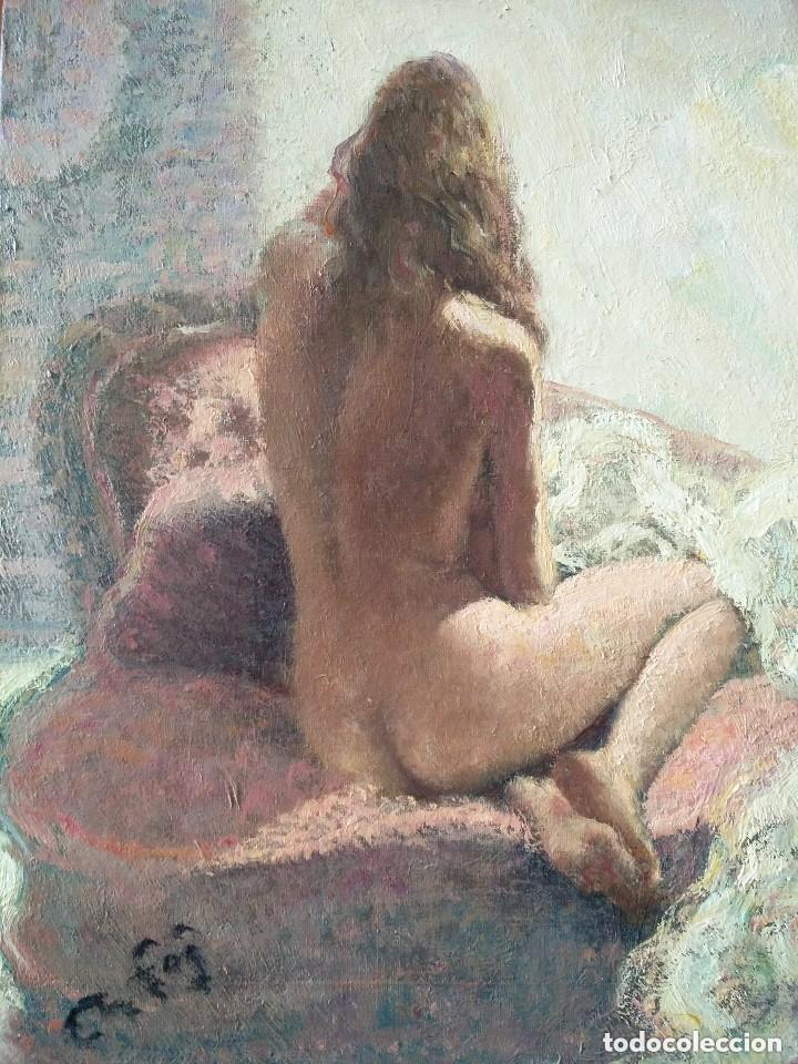 ORIGINAL 1950'S : DESNUDO FEMENINO, JOVEN MUJER DE ESPALDAS (Arte - Pintura - Pintura al Óleo Moderna sin fecha definida)