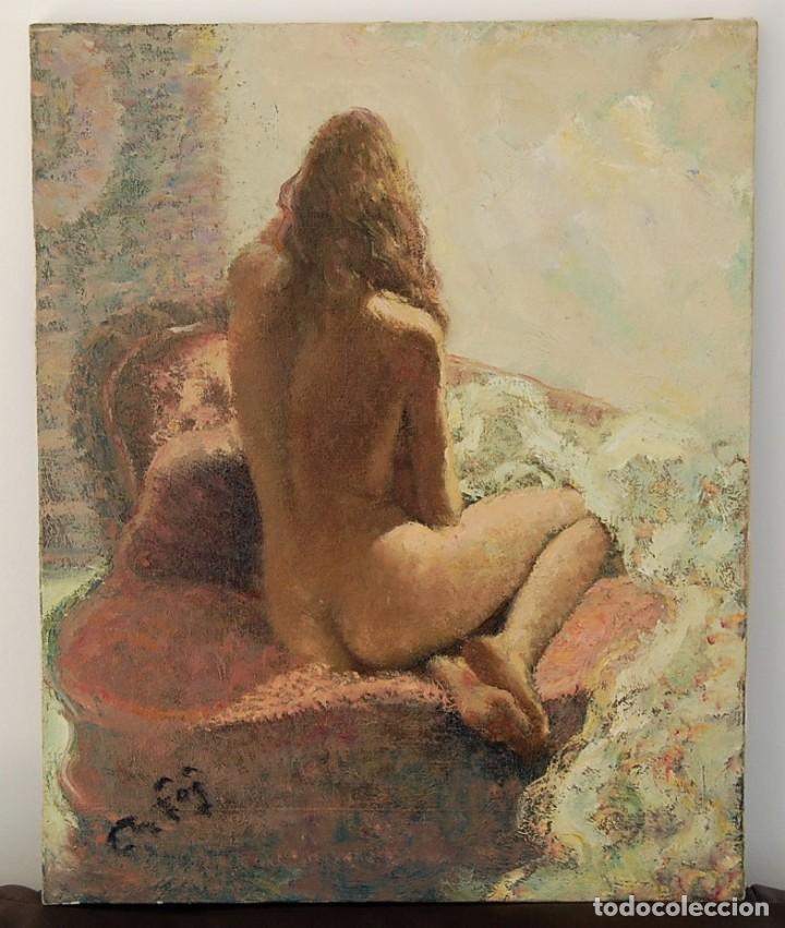 Arte: ORIGINAL 1950's : DESNUDO FEMENINO, JOVEN MUJER DE ESPALDAS - Foto 2 - 115663511