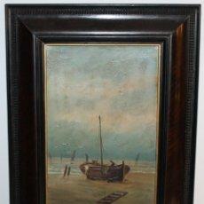 Arte: ÓLEO SOBRE TÁBLEX - BARCA EN LA PLAYA CON FIGURA - FIRMADO LLOPART 1894. Lote 115744199