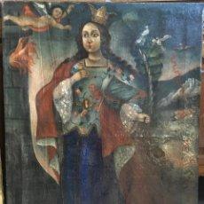 Arte: SANTA BARBARA (XVIII-XIX) - ÓLEO SOBRE TELA (REENTELADO). Lote 115941915