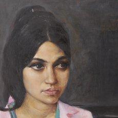 Arte: BERLIN 1968: REVOLUCION HIPPIE - ESTUDIANTIL / RETRATO FEMENINO ( JOVEN MUJER ÁRABE? ). Lote 116083771