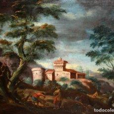 Arte: ESCUELA FLAMENCA DEL SIGLO XVIII. OLEO SOBRE TELA DE AUTOR ANONIMO. PAISAJE CON PERSONAJES. Lote 116094003