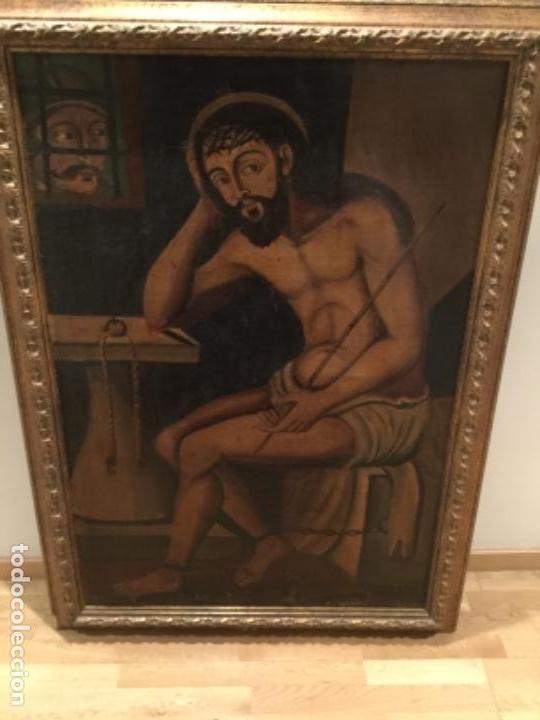 Arte: Espectacular óleo sobre lienzo , Ecce Homo.Cristo cautivo, Siglo XVII, sin repintes, original - Foto 6 - 115408767