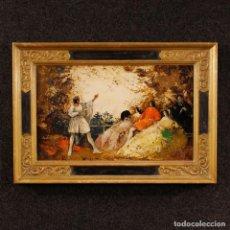 Arte: PINTURA FRANCESA PAISAJE ROMÁNTICO CON PERSONAJES EN ESTILO IMPRESIONISTA. Lote 116345223