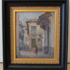 Arte: MANUEL TEJERO , FECHADO 1925 - SEVILLA, BARRIO DE SANTA CRUZ ( LAS TERESAS). Lote 116424851