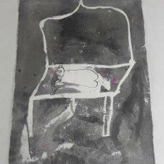 Arte: MUJER SOÑANDOME. TÉCNICA MIXTA SOBRE CARTULINA. A. GONZALO CARBÓ. 1990.. Lote 116500379