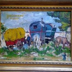 Arte: MIKHAIL LARIONOV RUSIA 1881-1964 EXPRESIONISMO CAMPAMENTO DE GITANOS O/T MONOGRAMA 1919 50.5X64 CMS. Lote 89047992