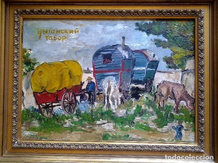 Arte: Mikhail Larionov RUSIA 1881-1964 EXPRESIONISMO CAMPAMENTO DE GITANOS O/T MONOGRAMA 1919 50.5X64 CMS - Foto 3 - 89047992