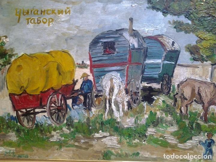 Arte: Mikhail Larionov RUSIA 1881-1964 EXPRESIONISMO CAMPAMENTO DE GITANOS O/T MONOGRAMA 1919 50.5X64 CMS - Foto 5 - 89047992