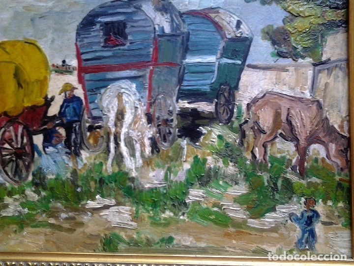 Arte: Mikhail Larionov RUSIA 1881-1964 EXPRESIONISMO CAMPAMENTO DE GITANOS O/T MONOGRAMA 1919 50.5X64 CMS - Foto 7 - 89047992