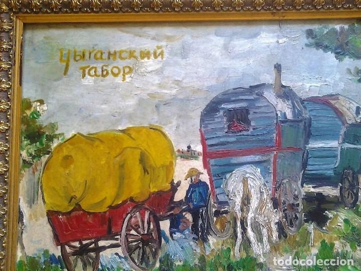 Arte: Mikhail Larionov RUSIA 1881-1964 EXPRESIONISMO CAMPAMENTO DE GITANOS O/T MONOGRAMA 1919 50.5X64 CMS - Foto 8 - 89047992