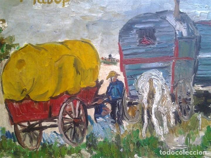 Arte: Mikhail Larionov RUSIA 1881-1964 EXPRESIONISMO CAMPAMENTO DE GITANOS O/T MONOGRAMA 1919 50.5X64 CMS - Foto 10 - 89047992