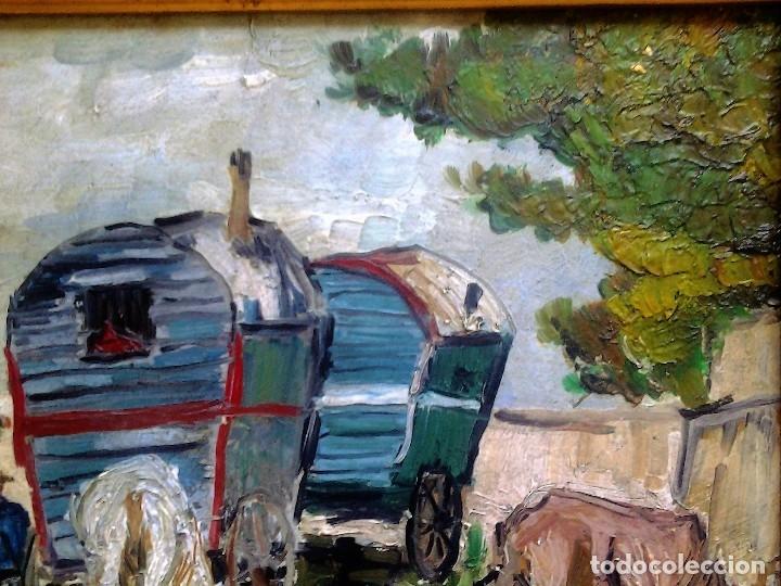 Arte: Mikhail Larionov RUSIA 1881-1964 EXPRESIONISMO CAMPAMENTO DE GITANOS O/T MONOGRAMA 1919 50.5X64 CMS - Foto 12 - 89047992