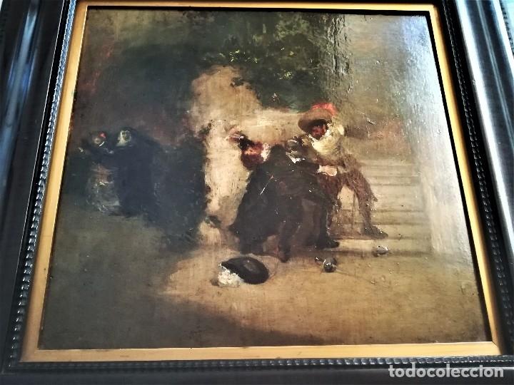 Arte: ESCUELA ESPAÑOLA,PINTURA,OLEO SOBRE TABLA SIGLO XIX, DUELO A ESPADA EN EL CONVENTO,ESGRIMA-SABLE - Foto 3 - 116551955