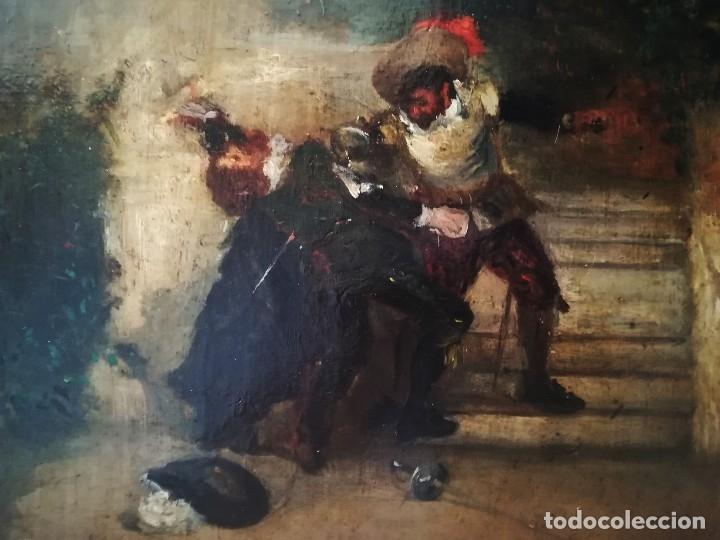 Arte: ESCUELA ESPAÑOLA,PINTURA,OLEO SOBRE TABLA SIGLO XIX, DUELO A ESPADA EN EL CONVENTO,ESGRIMA-SABLE - Foto 4 - 116551955