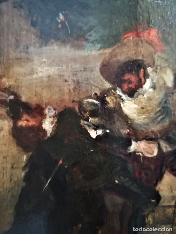 Arte: ESCUELA ESPAÑOLA,PINTURA,OLEO SOBRE TABLA SIGLO XIX, DUELO A ESPADA EN EL CONVENTO,ESGRIMA-SABLE - Foto 6 - 116551955