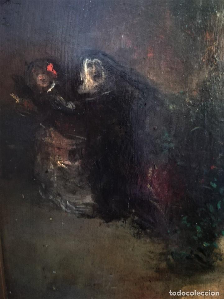 Arte: ESCUELA ESPAÑOLA,PINTURA,OLEO SOBRE TABLA SIGLO XIX, DUELO A ESPADA EN EL CONVENTO,ESGRIMA-SABLE - Foto 7 - 116551955