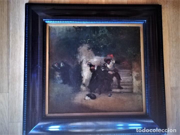 Arte: ESCUELA ESPAÑOLA,PINTURA,OLEO SOBRE TABLA SIGLO XIX, DUELO A ESPADA EN EL CONVENTO,ESGRIMA-SABLE - Foto 11 - 116551955