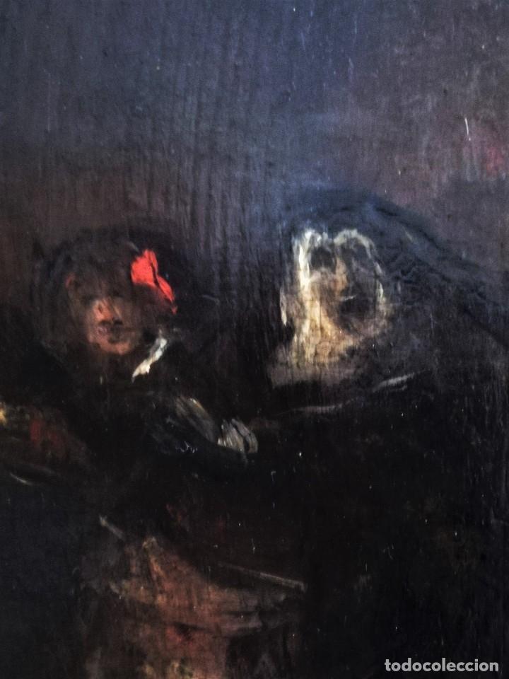 Arte: ESCUELA ESPAÑOLA,PINTURA,OLEO SOBRE TABLA SIGLO XIX, DUELO A ESPADA EN EL CONVENTO,ESGRIMA-SABLE - Foto 10 - 116551955