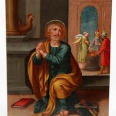 Arte: ESCUELA ESPAÑOLA DE FINALES DEL SIGLO XVIII. OLEO SOBRE COBRE. SAN PEDRO. Lote 116571551