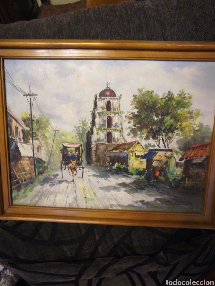 ÓLEO SOBRE LIENZO, PAISAJE. (Arte - Pintura - Pintura al Óleo Antigua sin fecha definida)